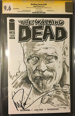 Walking Dead #109 Blank Signed Michael Rooker Sketch By Buzz Zombie Rare