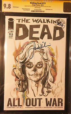 Walking Dead #115 Blank Signed Sarah Wayne Sketch By Buzz Day Of The Dead