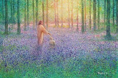Yongsung Kim Walk With Me Canvas Jesus Walking W/lamb In Wooded Field Of Flowers