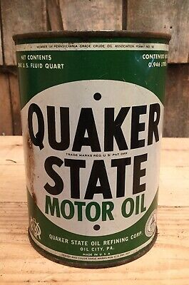 Vintage Quaker State Motor Oil Pa 1 Qt Tin Can Auto Gas Service Station Sign