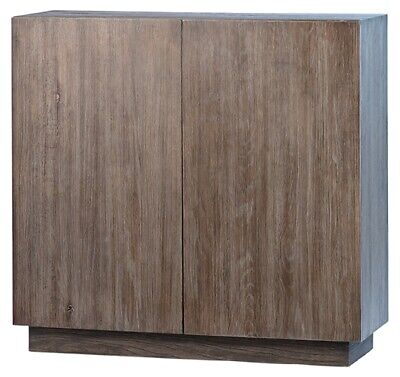 "41"" L Grazia Two Door Sideboard Solid Oak Wood Rustic Grey Finish Traditional"