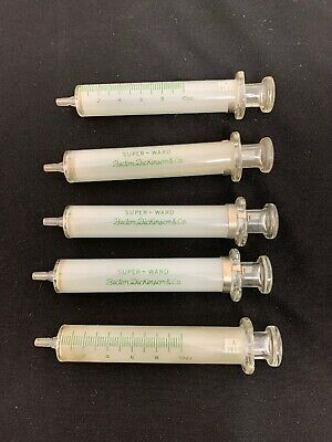 Two Vintage Becton, Dickinson & Co., Super Ward 10cc Glass Syringes