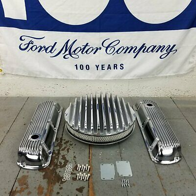 Ford Sbf 14 Finned Ac Valve Covers Engine Dress Up Kit No Breather 289 302 351w