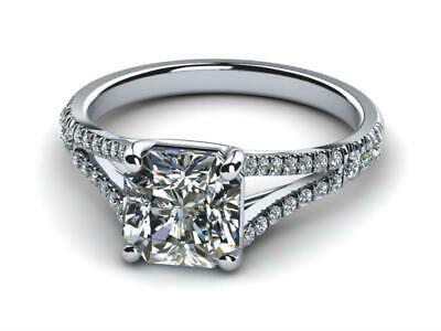 Ladies Choice 18 K White Gold Accented Diamond Radiant Cut Ring H Vs2 1.5 Ct