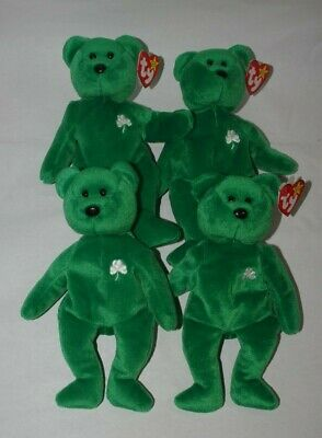 Ty Beanie Baby 1997 Erin The Irish Bear Rare Errors Retired Lot Of (4)