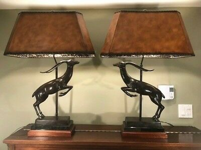 Signed Maitland Smith Table Lamp W Cast Bronze Gazelle Statue Leather Shade