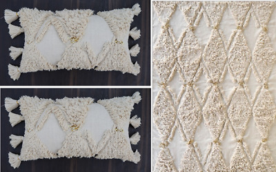 Matching Pair Knotted Cushion Throw Cover Rug Living Room Sofa Cotton Htxcu-1376