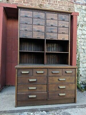 Antique J.d. Warren Oak Mercantile Country Store Cabinet Apothecary Seed Kitchen