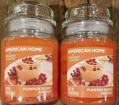 Two (2) Pumpkin Berry Parfait - American Home By Yankee Candle 19oz Jar - New