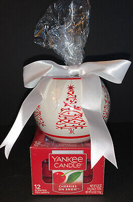 Yankee Candle Holiday Tree Tea Light Gift Set W/ 12 Cherries On Snow Teas Nib