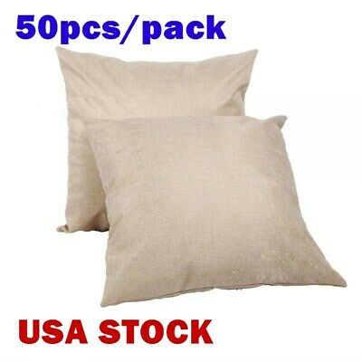 Us - 50pcs Linen Blank Bedding Pillow Case Square Throw Pillowcases Cover