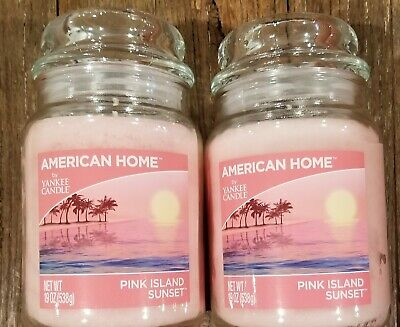 Two (2) Pink Island Sunset - American Home By Yankee Candle 19oz Jar - Brand New