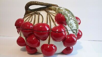 🍒 Mancioli Soup Tureen Vintage 1964 Italy Cherries Collection Made In Italy🍒