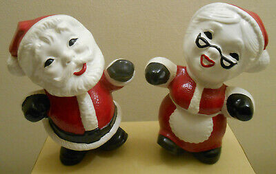 Vintage Ceramic Gare Mold Santa And Mrs Claus Christmas Decorations Figurines
