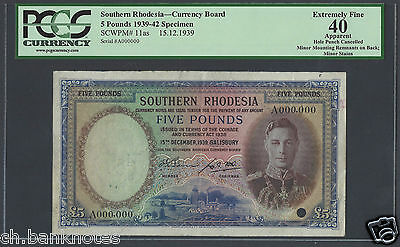 Southern Rhodesia 5 Pounds 15-12-1939 P11as Specimen Extremely Fine