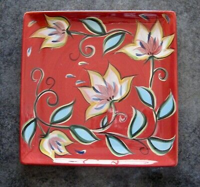 Gail Pittman Southern Living At Home Red Bountiful Square Platter Plate Floral
