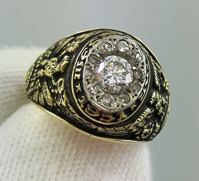 0.40ct G Color Diamond West Point Military Academy 14k Yg Gold Class Ring 1951