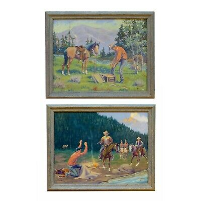 """""""the Loot"""" And """"the Capture"""" By August Curley Lenox Oil On Canvas"""