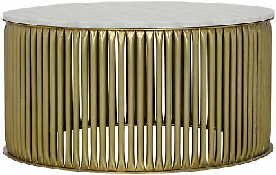 Noir Lenox Metal And Stone Coffee Table With Antique Brass Finish Gtab1008mb