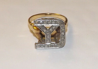 Rare Yankee Division 14k Gold W/ Diamonds Yankee Division Wwii  Military Ring