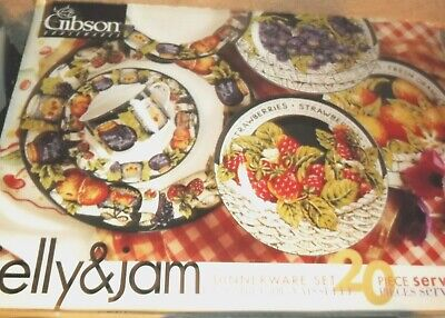 Gibson Housewares Jelly & Jam 20-piece Dinnerware Set, New In Box