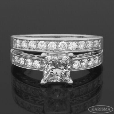 1.63 Carat Vs1 Earth Mined 14 Kt White Gold Band Diamond Ring Accents Stones