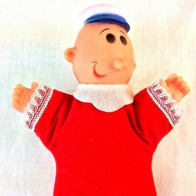 "1979 King Features Popeye Sweet Pea Doll With Red Sleeper 9"" Cute"