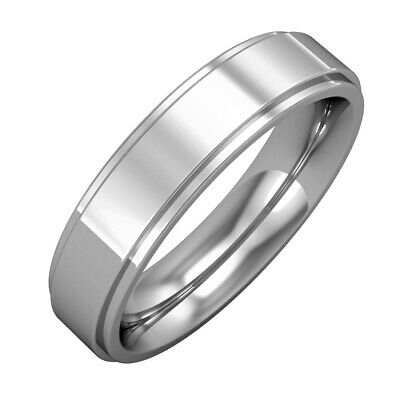 18ct White Gold - 5mm Premium Flat Court Step Cut Band Commitment / Wedding Ring