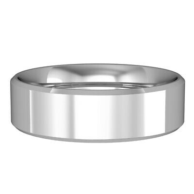 18ct White Gold 6mm Essential Flat-court Bevelled Bevelled Band Wedding Ring