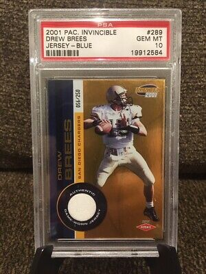 2001 Pacific Invincible Drew Brees Rc Jsy Blue /250 Graded Psa 10 Gem Mint Pop 1