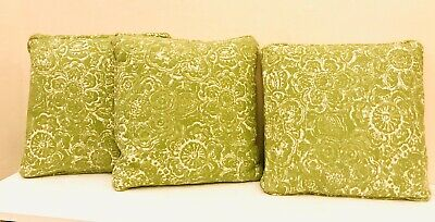 Vtg Retro Funky Floral Olive Green Mcm 16x16 Custom Down Filled Throw Pillow Set