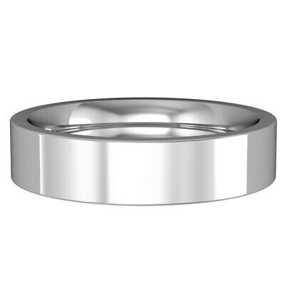 18ct White Gold - 5mm Premium Flat Court-shaped Band Commitment / Wedding Ring