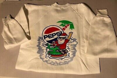 "Vintage 1990 Pepsi Cola Advertising ""palm Tree Pepsi Santa"" White Xl Sweatshirt"