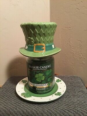 Yankee Candle Leprechaun Hat Shade, Plate & Shamrock Candle