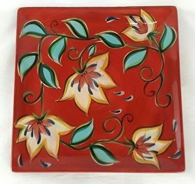 "Southern Living At Home Red Bountiful Square Platter Gail Pittman 13"" Discont."