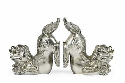 Jonathan Charles Curated White Stainless Steel Foo Dog Bookends 495947-stw