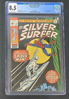 Silver Surfer 14 (3/70 Marvel) Cgc 8.5 Classic Surfer Vs Spider-man Cover