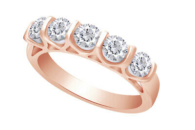 1.00 Ctw Certified Five-stone Diamond Band Ring 14k Rose Gold