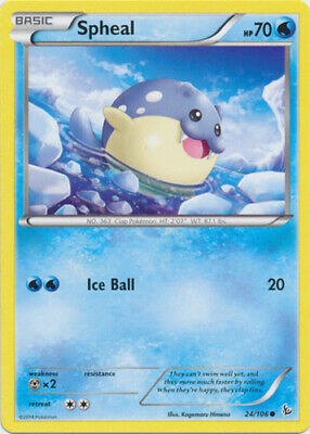1x - Spheal - 24/106 - Common - Reverse Holo NM, English Pokemon XY FlashFire
