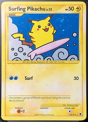 Pokemon Card 🌊 Surfing Pikachu 114 Secret Holo Rare⚡️ [Rising Rivals]PSA❓NM