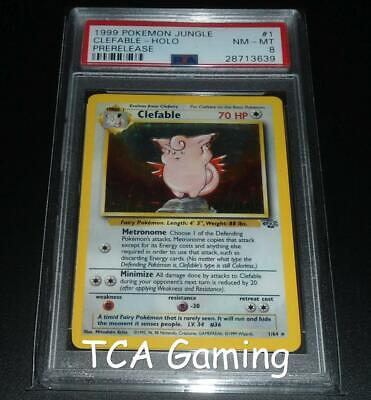 PSA 8 NM-MINT Clefable 1/64 PRERELEASE Jungle Set HOLO RARE Pokemon Card