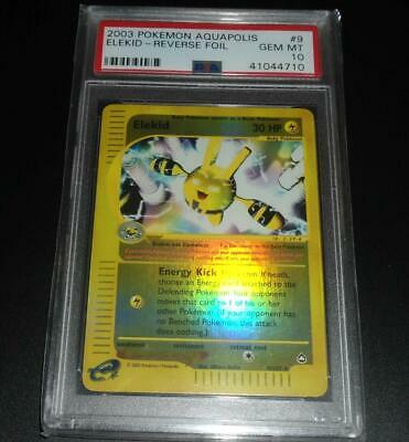 PSA 10 GEM MINT Elekid 9/147 Aquapolis Set REVERSE HOLO Pokemon Card