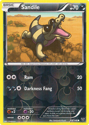 1x - Sandile - 69/146 - Common - Reverse Holo LP, English Pokemon XY Base Set