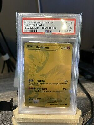PSA 9 2013 Pokemon B & W Legendary Treasures Reshiram GOLD FULL ART #114/113