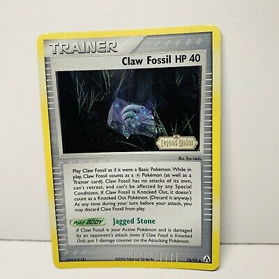 Claw Fossil HP 40 78/92 Trainer Reverse Holo Stamp EX Legend Maker Pokemon Card
