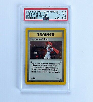 PSA 8 NM - MT 2000 Pokemon Gym Heroes The Rocket's Trap Holo - 1st Edition #19