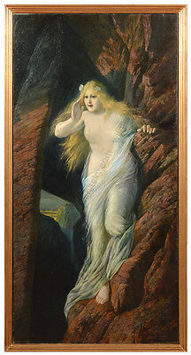 """Fritz Ilg (was Active In Munich) """"the Nymph Echo"""", Large Oil Painting, 1902"""