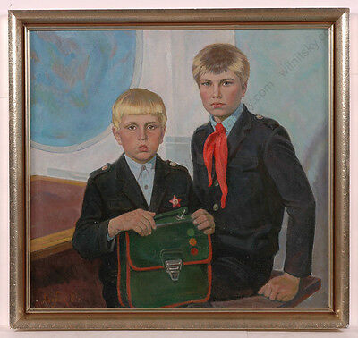 """brothers"" By Valentin Lyudvik (b.1932), Oil Painting, 1987"