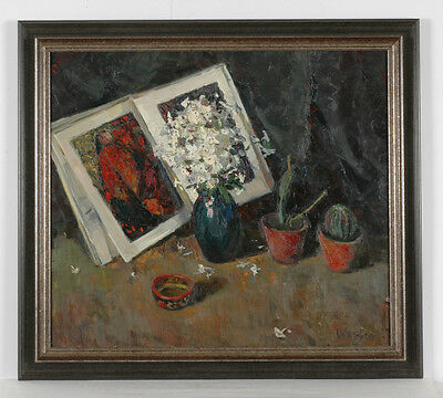 "Vladimir Novak (b.1938) ""still Life With Book And Flowers"", Oil On Canvas, 1967"