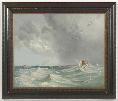 "Adolf Pirsch (1858-1928) ""seascape"", Oil Painting, Late 19th Century"